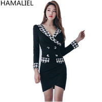 New Fashion 2018 Spring Women Sheath Dress Business Plaid Patchwork Long Sleeve Sexy V Neck Formal