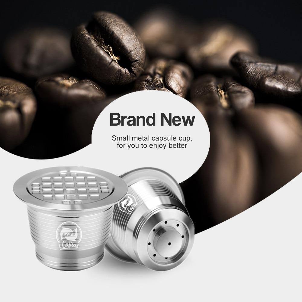 iCafilas Nespresso Square Hole Nespresso Refillable Capsule Stainless Steel Capsula Nespresso Coffee Pod Reusable Filters Gift