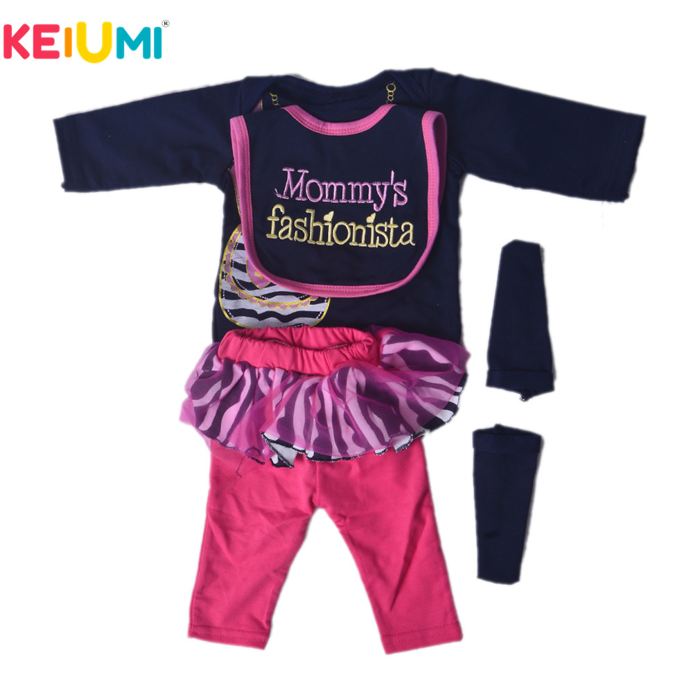 KEIUMI 22 23 Inch Reborn Doll Clothes Fashion Clothes For Baby Doll Black Romper With Bib