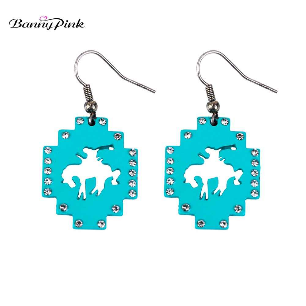 Banny Pink Gypsy Wild Horse Hollow Pendant Earrings For Women Ethnic Crystal Alloy Geo Dangle Earrings New Collection Earrings