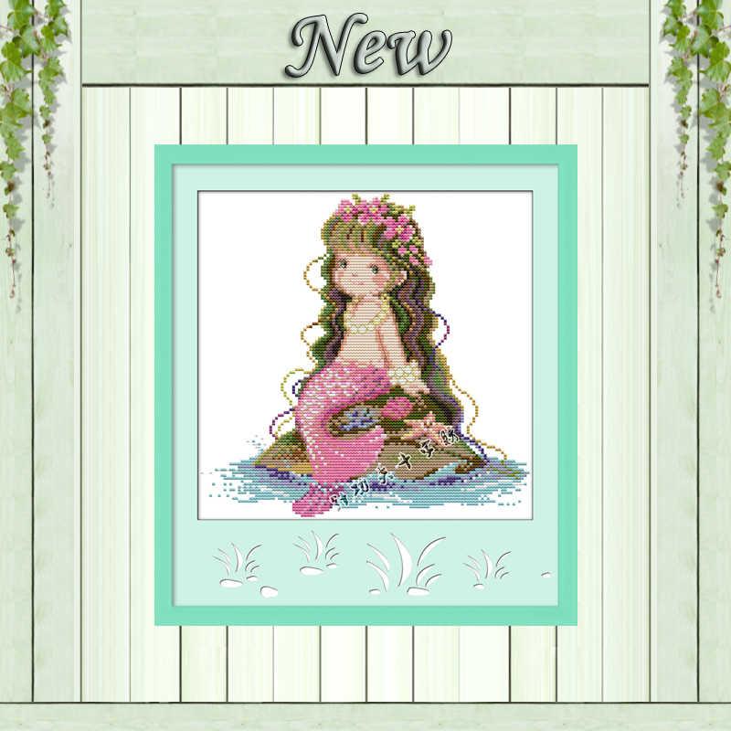 Mermaid สาวสวย fairy decor ภาพวาดนับพิมพ์บนผ้าใบ DMC 14CT 11CT ข้ามเย็บปักถักร้อยชุดเย็บปักถักร้อยชุด