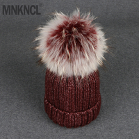 2018 Autumn Winter New Fashion Coarse Women Caps Knitted Hat Fox Fur Pompoms High Quality Skullies Caps