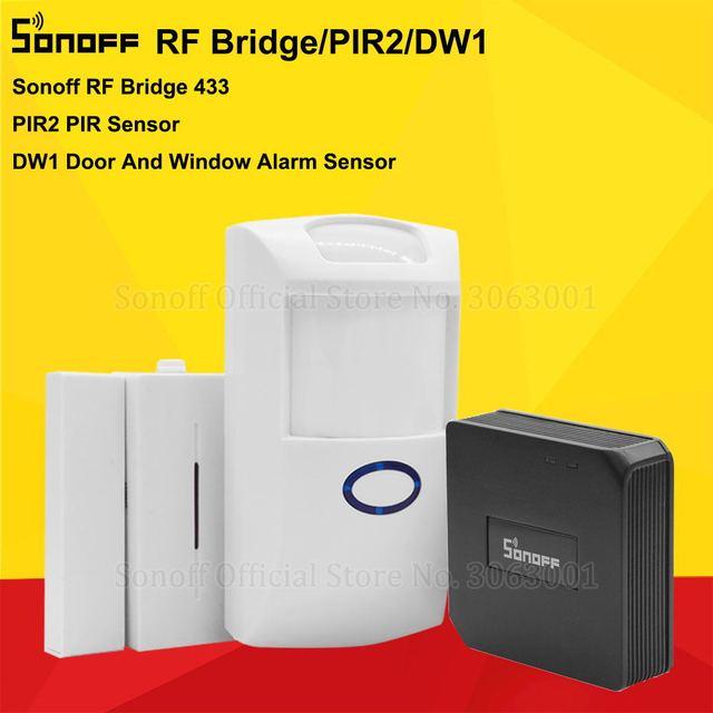 Sonoff RF Bridge 433 MHZ Wifi convertidor de señal inalámbrica PIR 2 Sensor/DW1 puerta y Sensor de alarma de ventana para kits de seguridad para el hogar inteligente