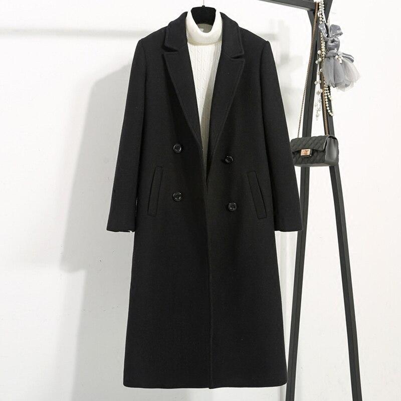 Kurtka zimowa kobiety długi gruby płaszcz z wełny kobiety 2 kolory 2018 new arrival Plus rozmiar w Wełna i mieszanki od Odzież damska na  Grupa 1