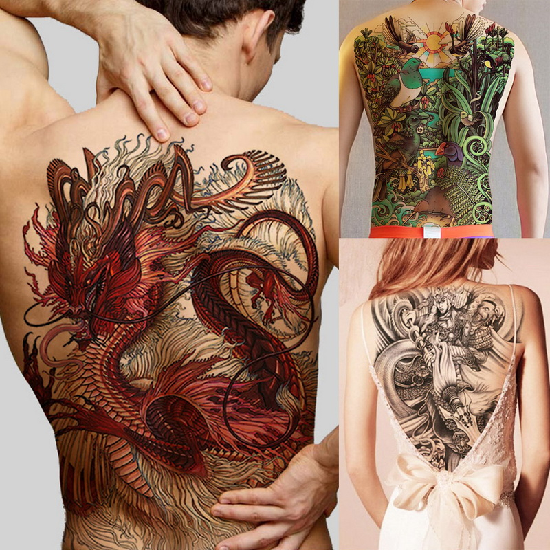 Super Big Large Full Back Chest Tattoo Stickers Fish Wolf Tiger Dragon Buddha Waterproof Temporary Flash Tattoos Cool Men Women