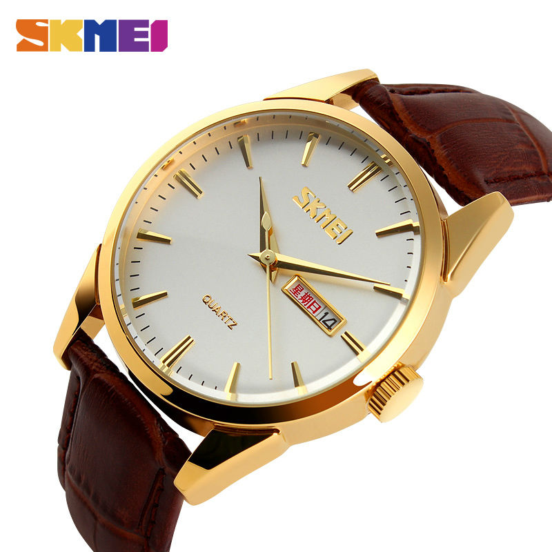 SKMEI Quartz Watches Men Fashion Casual Complete Calendar Watch Alloy Dial 30M Water Resistant Luxury Wristwatches Mens Clock skmei 9058 fashion men watches water resistant dress watch analog display quartz wristwatches