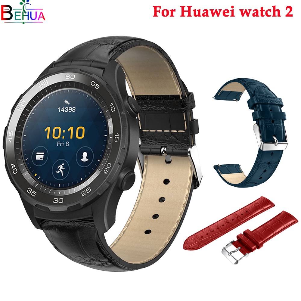 For Huawei Watch 2 Smart Watch Replacement Luxury Leather Wristband Bracelet Strap For Huawei Watch 2 Genuine Watch Accessories