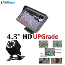 HaiSunny For Auto Parking Assistance Night Vision Rear View Back up Camera CCD Dynamic Line With 4.3 Inch Car Monitor цена