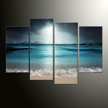 4 panel wall picture living room art sea view canvas painting module picture poster and print