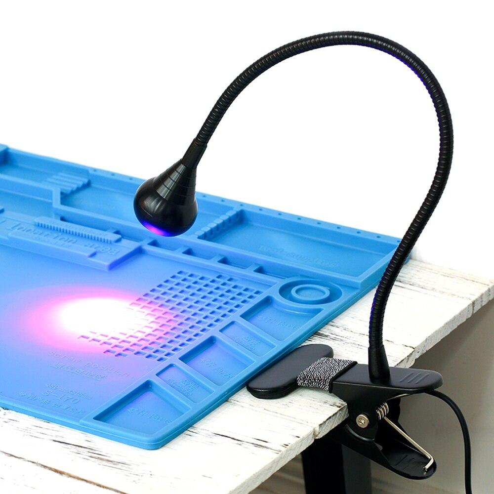 USB ультрафиолетовая отверждающая лампа светодиодный светильник с черной шеей светильник с зажимом УФ-светильник черный светильник лампа д...