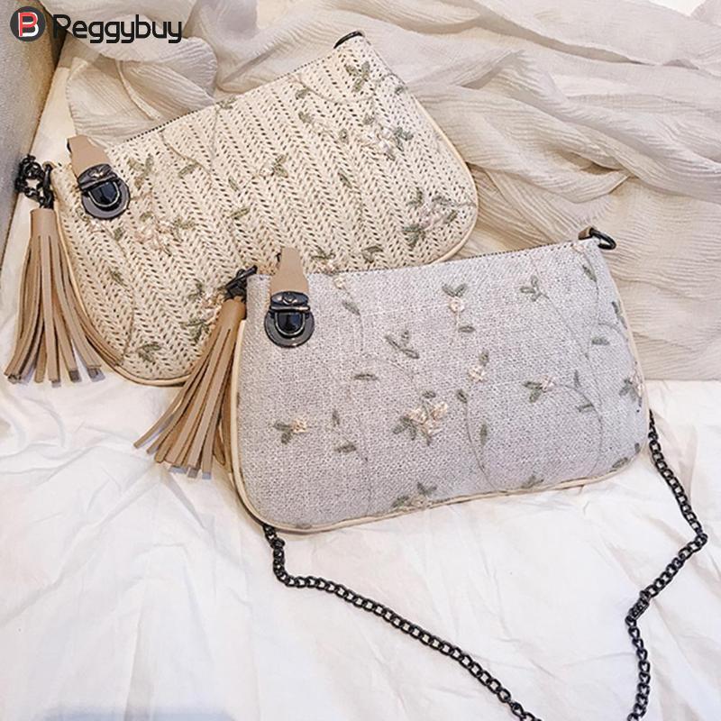 New Fashion Women Handbag Tassels Woven/Linen Crossbody Bag Fashion Chain Shoulder Bags Mini Pastoral Rattan Messenger Handbags