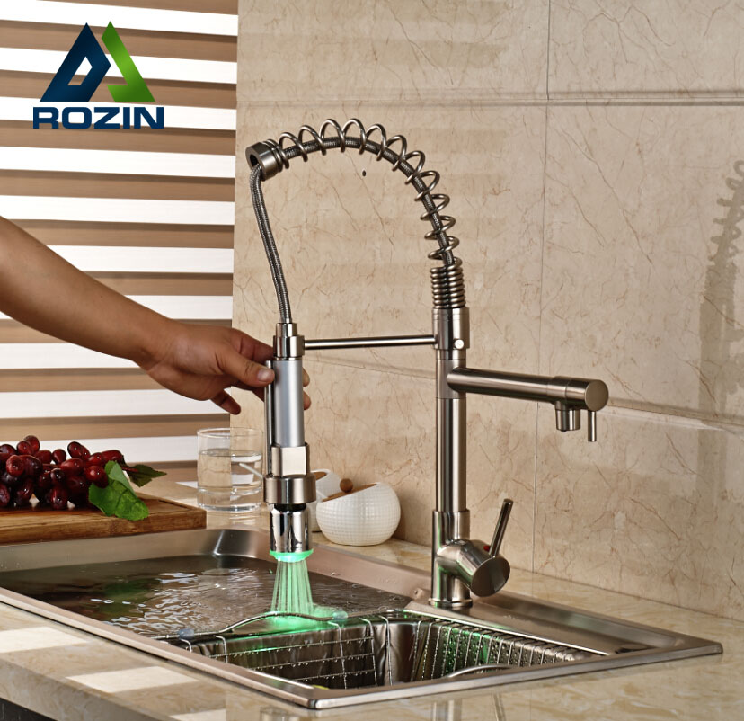 Luxury Spring Pull Down Kitchen Sink Mixer Faucet Single Handle Dual Swivel Spout Mixer Taps with