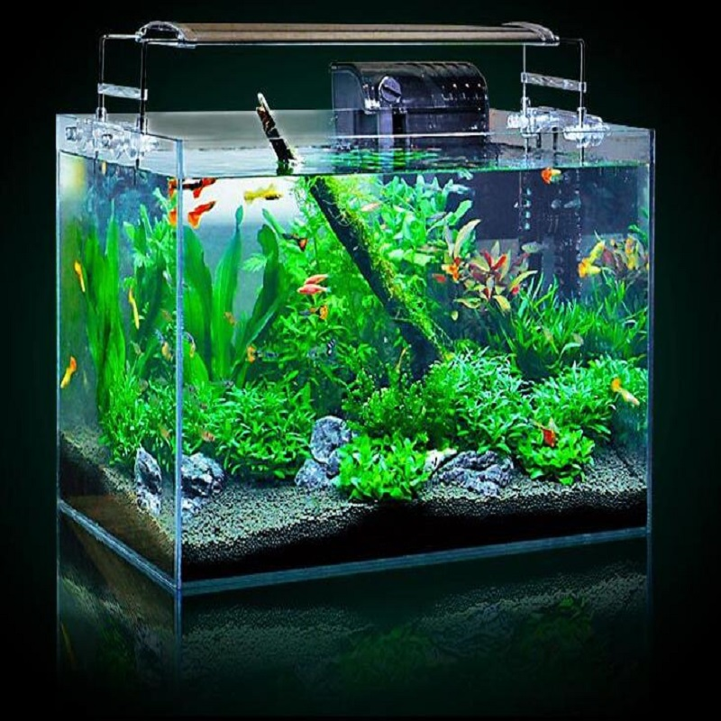 1 piece Desktop living room glass small fish bowl Lazy Ultra white goldfish tank With acrylic lid size 15 45cm