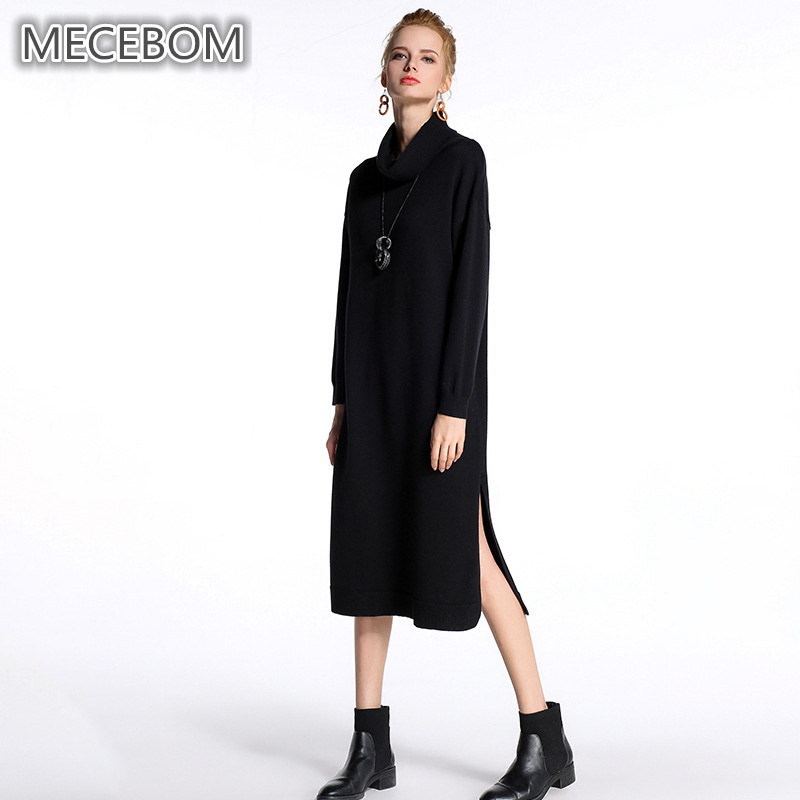 MECEBOM Womens sweaters winter x-long knitted sweaters fashion turtleneck lady black sweaters Slits design one size 1385c