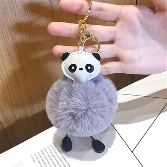 Panda bonito Fluffy Furball Falsa Pele De Coelho Bola Pompom Keychain Chave Titular Saco Chave Do Carro Anel de Cadeia Para Mulheres