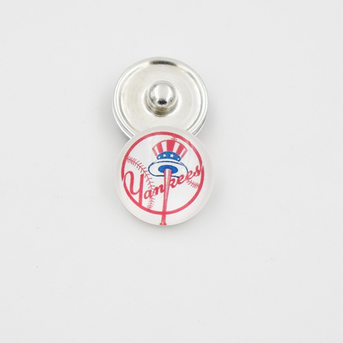 18MM NY Yankees Snap Button Baseball Team Glass Snap Button Charm For Snap Button Jewelry (Mixed Or Single Sell)