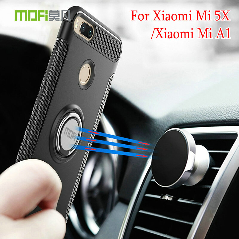 Mofi Case For Xiaomi Mi A1 / Xiaomi Mi 5X (5.5) Car Holder Stand Magnetic Suction Bracket Finger Ring TPU + PC Cover For Mi 5X