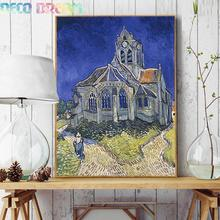 Full diamond embroidery world famous The Church at Auvers by Vincent van Gogh 50cm* 40cm Diy Diamond painting