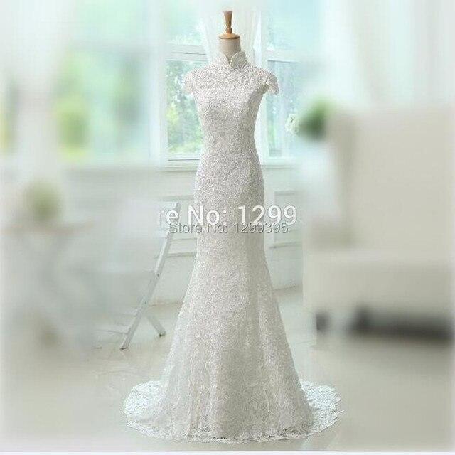 cuello mao lace sirena vestido de boda con espalda abierta lace up