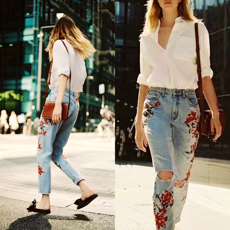 Flower Embroidery Jeans Women Vintage Ripped Pants Pockets Straight Jeans Female Bottom Women Denim Trousers flower embroidery jeans female blue casual pants capris 2017 spring summer pockets straight jeans women bottom a46