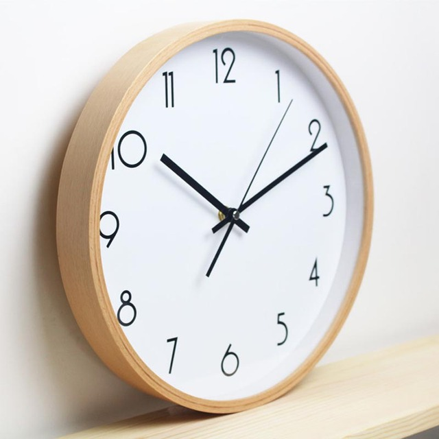 12 inch Round Beech Wood Soundless Wall Clock Living Room Furniture Decore Clock