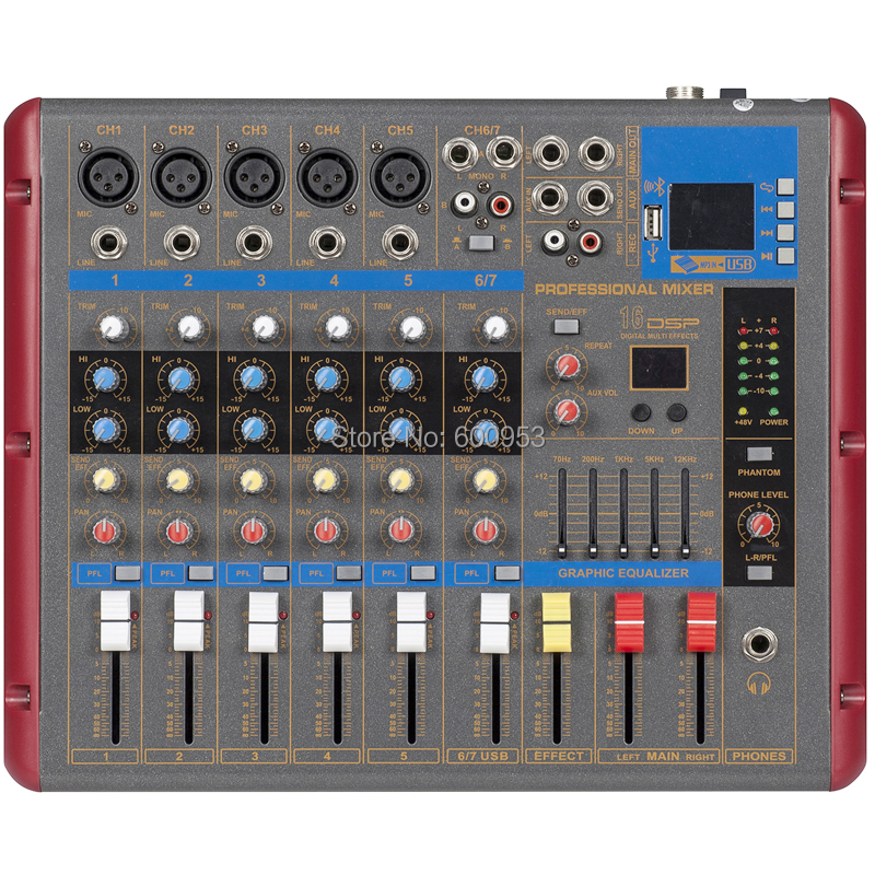 micwl 7 channel wireless bluetooth microphone mixing console digital monitor mixer for recording. Black Bedroom Furniture Sets. Home Design Ideas