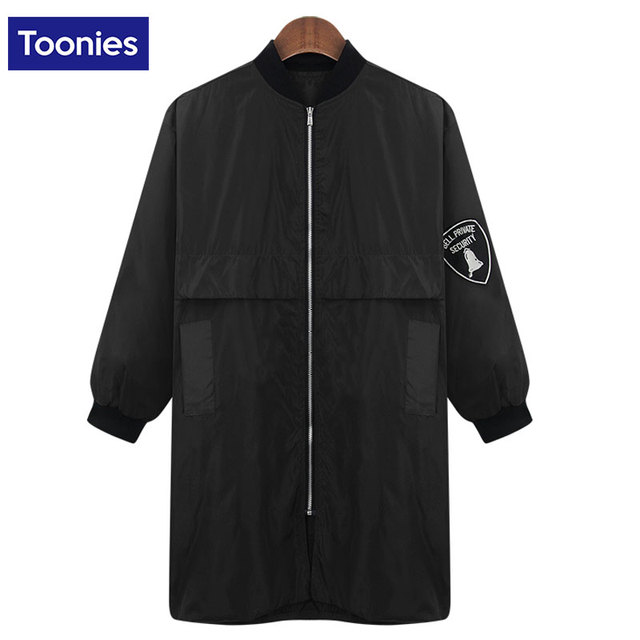 Women Basic Coats Female Bomber Jacket 2017 Autumn Solid Long Jackets Armband Waterproof Hip Hop Fashion Zipper Coat Windbreaker