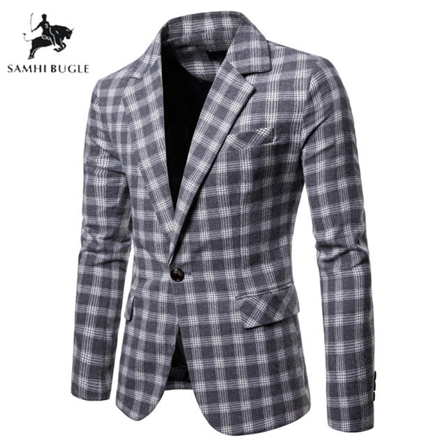 Fashion Plaid Blazer Men Slim Fit Single Button 2019 New Brand Clothing Blazer Jackets Casual Office Blazer Masculino 1
