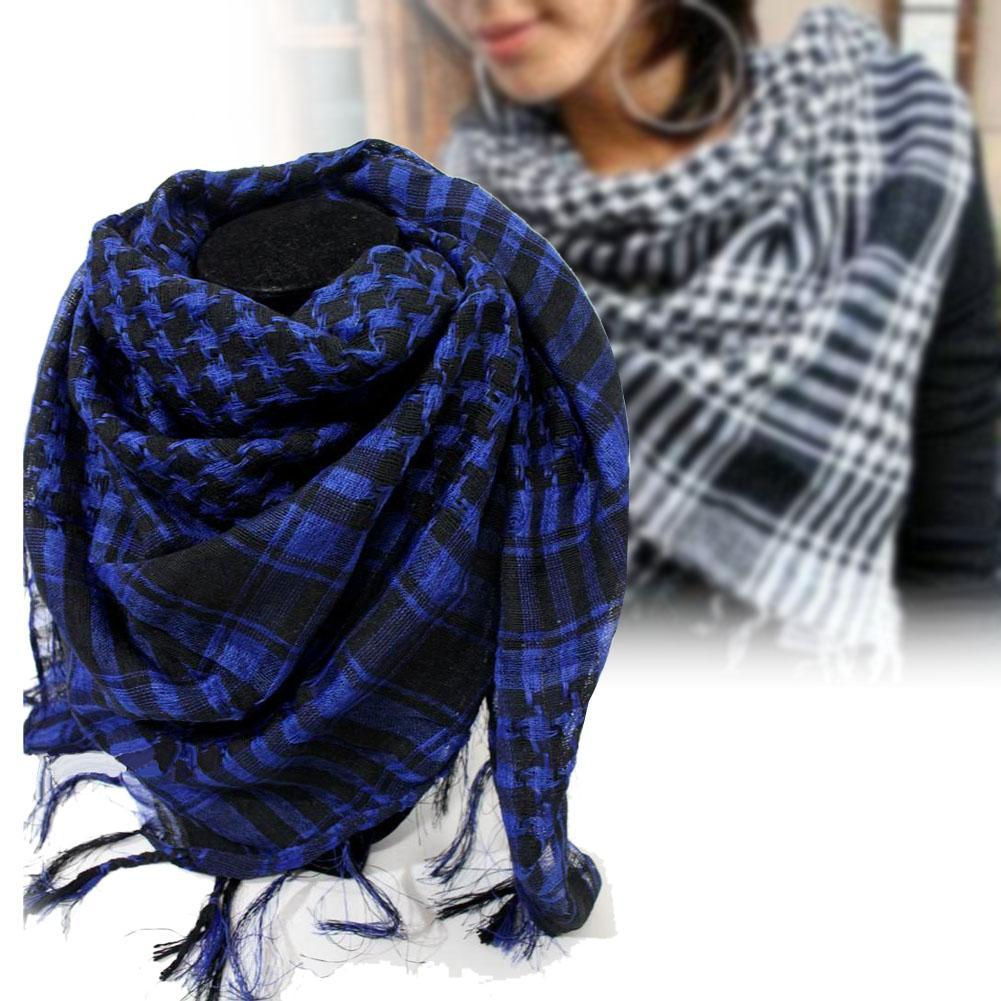 Military Windproof Winter Scarf Men Muslim Hijab Thin Shemagh Tactical Shawl Arabic Keffiyeh Scarves Cotton Fashion Blue R