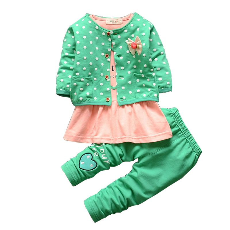 3 PCS Autumn Baby Infant Girls Clothes Sets Kids Coat+ T-shirt + Pants Children Princess Heart Shaped Print Bow Baby Girl Outfit 2016 hot selling baby kids girls one piece sleeveless heart dots bib playsuit jumpsuit t shirt pants outfit clothes 2 7y
