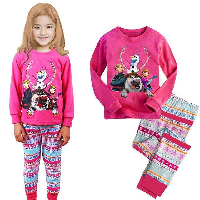 a8e9971ec Nueva Olaf Niñas Pijama de Algodón Suave Impresión de la Historieta Del Niño  Del Bebé Niños
