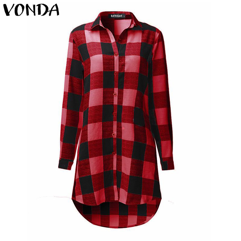 VONDA Pregnanct Women Retro Plaid Blouse Shirts 2018 Spring Long Sleeve Asymmetrical Hem Tops Pregnancy Maternity Clothings 5XL