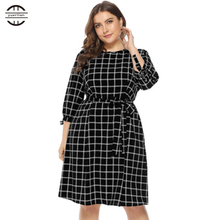 2019 New Spring Big Size Women Bandage Dresses Elegant O Neck Plaid Dress Casual Three Quarter Sleeve 4XL Plus Black