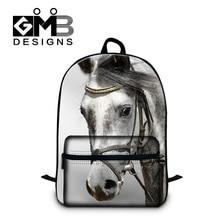 Dispalang Brand Animal Mens Shoulder Laptop Backpack Horse Print School Bags For Teenager Boys Girls Children