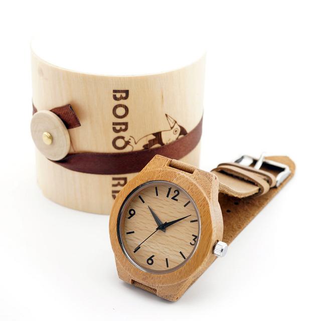 2016 Relógio Movimento Japonês 2035 de Bambu de Madeira de Madeira das Mulheres Dos Homens Relógios com pulseira de Couro Genuíno Relógios De Pulso para Presentes de Natal