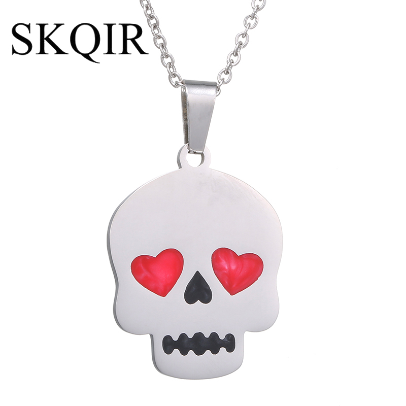 SKQIR New Arrival 316L Stainless Steel Skeleton Necklace Silver Chain Punk Skull Biker Pendant Necklaces Women Fashion Jewelry