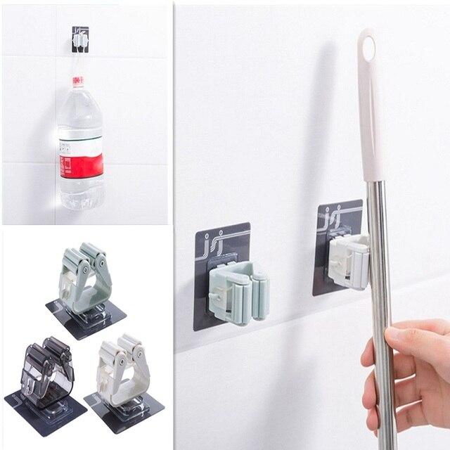 1 pc mop vassoura titular mop organizador rack de armazenamento do banheiro cozinha ferramenta cabide dobrável rack metal ferramentas titular vassoura mop clipe
