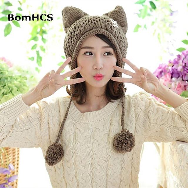 BomHCS Fox Ears Cat Ear New Women Winter Hat 100% Handmade Knitted Beanie  Ear Muff 85e7c2e852f