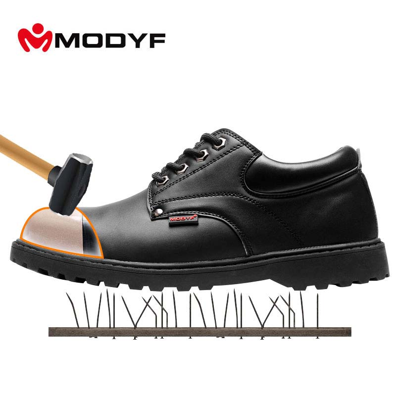 MODYF Men Steel Toe Cap Work Safety Shoes Leather Casual Breathable Outdoor Boots Puncture Proof Protection Footwear цена 2017