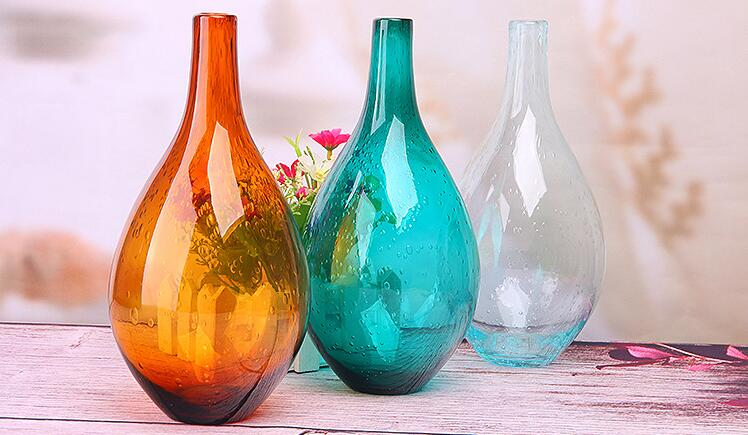 Zakka Nordic Style Ocean Blue Bubble Glass Vases Hand Blown Flower Vases Table Vase Home