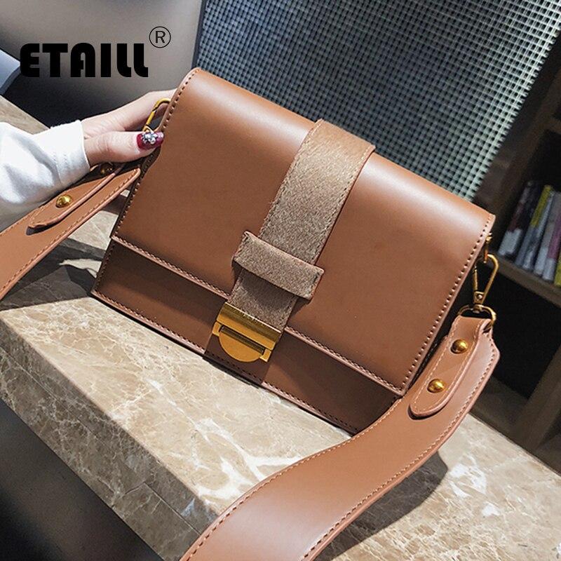 ETAILL Fashion Horse Hair Belt Flap Crossbody Bag Small Flap Women Shoulder Bag 2018 Vintage Wide Strap Handbags For Lady Girl