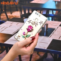 HOCAYU 3d Bling Rhinestone Phone Cases For Huawei Honor Nova 2 P10 Lite Luxury Rose Women