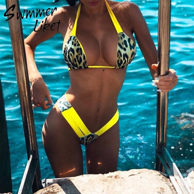 Extrema bikini micro bikini conjunto bikini brasileño bikini 2019 impreso traje de baño mujer bañistas trajes Halter Alta Corte traje de baño nuevo