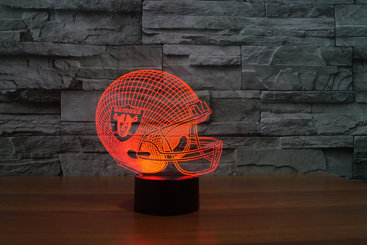 Light gift furniture 3D led Oakland Raiders football cap helmet