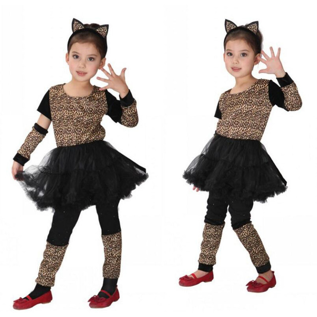 ecfc6675b Girls Kids Leopard Cosplay Costume Anime Masquerade Fantasia ...