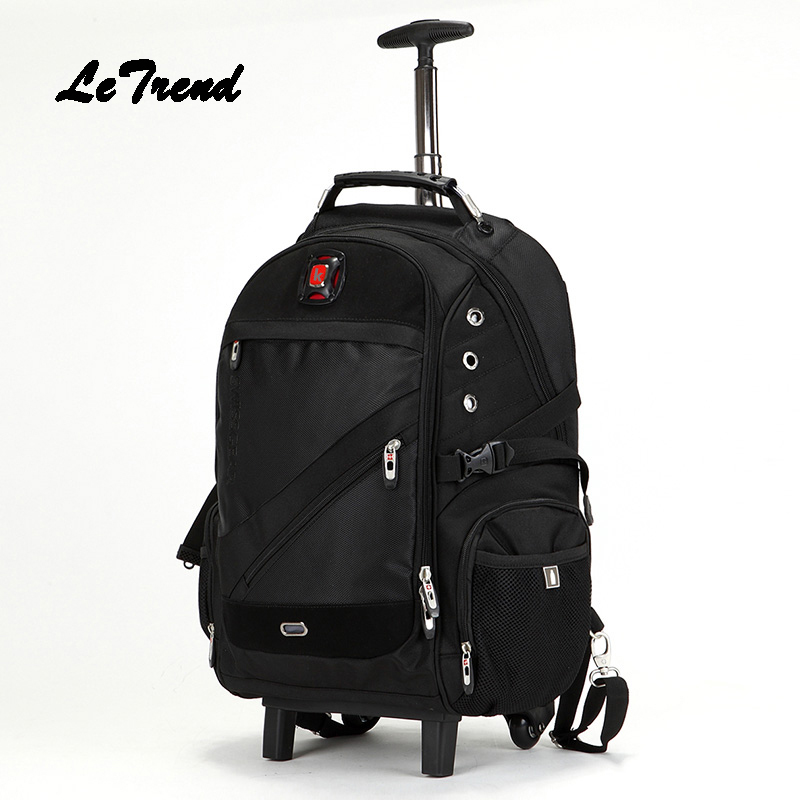 LeTrend Trolley Shoulder Backpack Rolling Luggage Caster Suitcase Wheel Large Capacity Student Travel Bag Women Carry On Trunk universal uheels trolley travel suitcase double shoulder backpack bag with rolling multilayer school bag commercial luggage