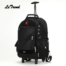LeTrend Trolley Shoulder Backpack Rolling Luggage Caster Suitcase Wheel Large Capacity Student Travel Bag Women Carry