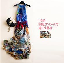 2017 New Summer Beach Dress 100%Silk Women Flowing Blue Long dress Elegant Natural Fabric High Quality 6-20days Free Shipping