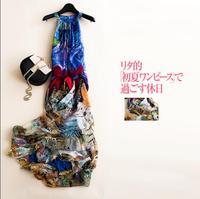 New Summer Beach Dress 100%Silk Women Flowing Blue Long dress Elegant Natural Fabric High Quality Hot Selling Free Shipping
