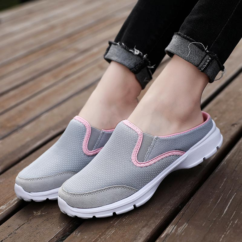Large Size Half Sport Shoes Woman Summer Sneakers Woman Sports Lightweight Women's Running Shoes 2019 Slip-on Gray Mesh A-327